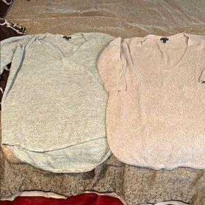 Express Sweaters heather gray and light tan EUC